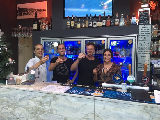 Sunshine Beach, Avustralya: The new Tiger beer tower arriving soon.  And a quick cheers with my staff for the bars 11th birt