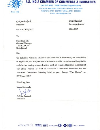Appreciation Letter From Aicci  Picture Of The Kudos Kodaikanal
