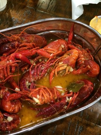 Randolph, MA: Crawfish boil in garlic and butter - mild spicy