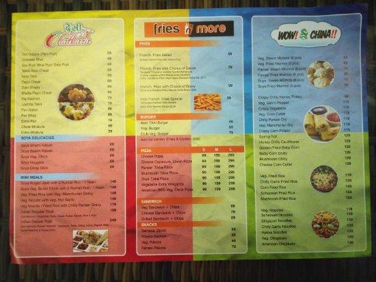 Hissar District, India: The menu card