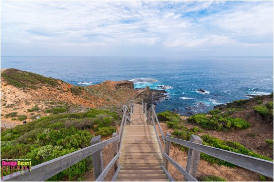 Flinders, Australia: View of the Cape Schanck boardwalk and the pebble beach