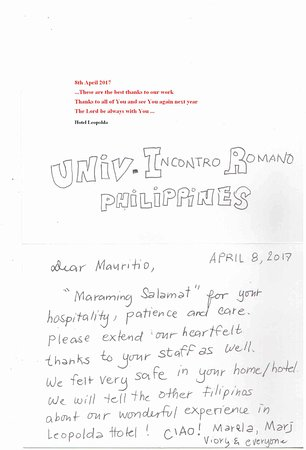 Hotel Leopolda: Gruppo University  Incontro Romano Philippines