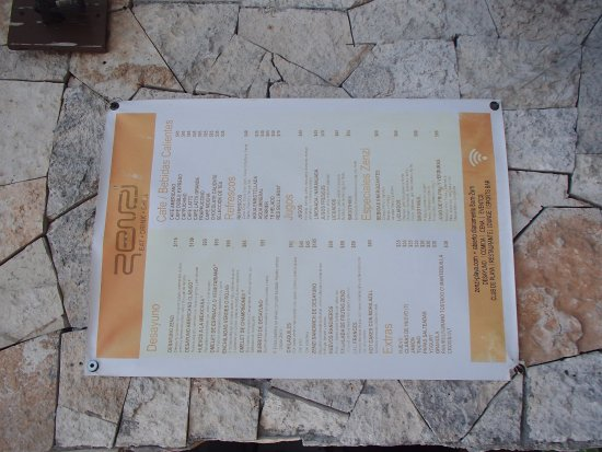 Zenzi Beach Bar & Restaurant: Menu