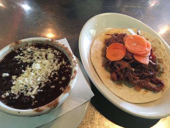 Holy Taco: Stewed Black Beans(left) and Brisket Taco(right)