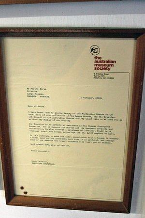 Zsambek, Hungary: Letter of the Australian Museum Society dating back into 1983