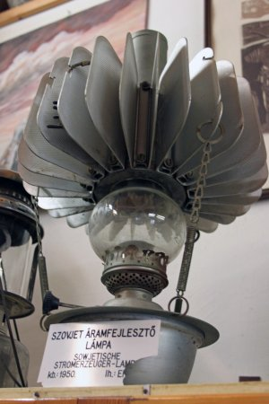 Zsambek, Hungary: One of my favourites: Soviet-made electricity-generating lamp