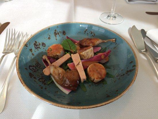 Beernem, Belgien: kwartelboutjes met fois gras. Lekker !!!!