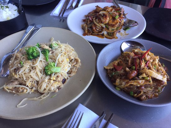 Slanted Door: Chicken Noodles, Caramelized Gulf Shrimp, Cellophane Noodles - left to right