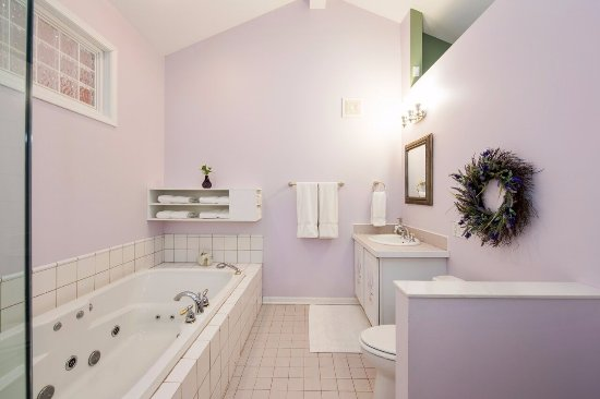 Glass Enclosed Shower lavender room bath with 12 jet jacuzzi and separate glass-enclosed