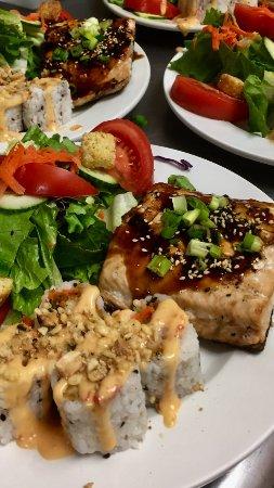 Burnsville, NC: Grilled Teriyaki Salmon dinner special with Bang Bang Shrimp Roll