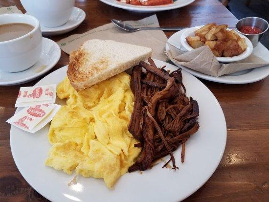 San Dimas, CA: Eggs n Brisket ('lite' on the brisket sauce) & Perfect scrambled eggs