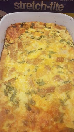 The Palm Hotel: Egg Casserole with cheese and spinach in it.