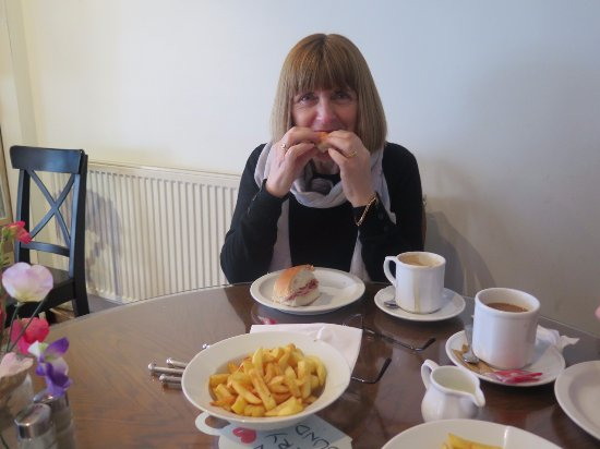 Great Harwood, UK: Bacon teacake and chips.