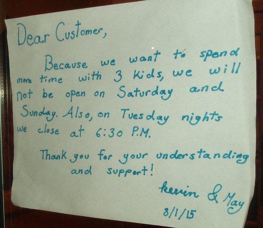 Canonsburg, Pensilvania: Sign on restaurant door