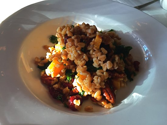 Birmingham, MI: Tasty farro kale salad with walnuts.