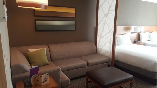 Sofa Area Next To Bed Picture Of Hyatt Place Arlington Courthouse