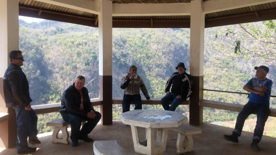 Thai Motorcycle Day Tours: Rest stop overlooking the Thai Burma border