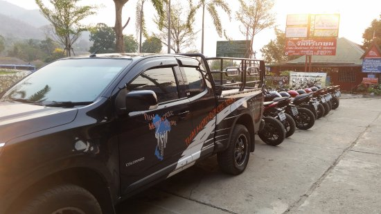 Thai Motorcycle Day Tours: The back up vehicle driven by the lovely Bpuk