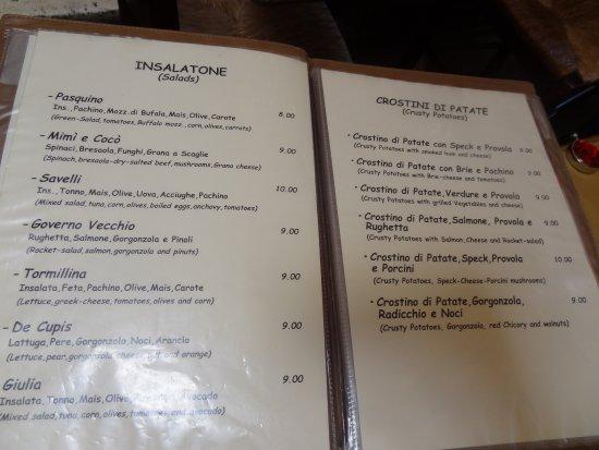 menu picture of mimi e coco rome tripadvisor