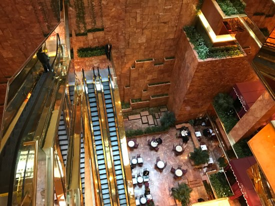 Inside Trump Tower The Back Wall Is A Water Cascade To
