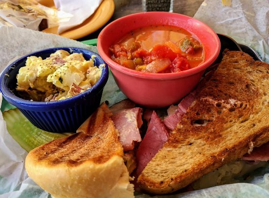 Travelers Rest, SC: Lunch at Williams Hardware: Cuban and Reuben sandwiches, tomato/okra soup, potato salad