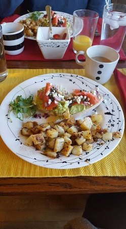 Hart, MI: Smoked salmon avocado toast with herbed home fries...yum!
