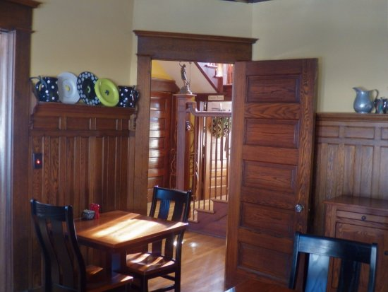 Hart, MI: Beautiful woodwork in the home's original dining room.