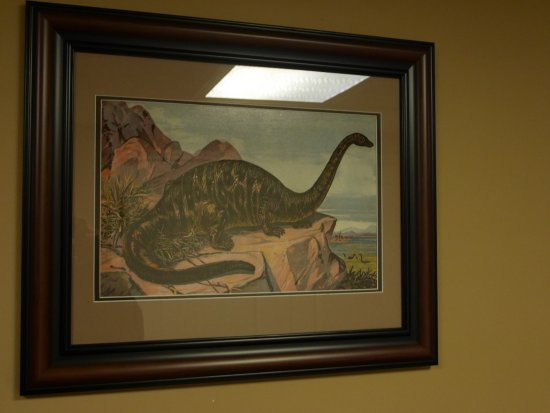 Lakewood, CO: Framed paintings of dinos found around the hotel.