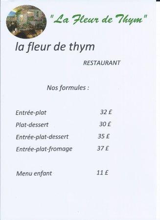 """La Fleur de Thym: La nouvelle formule menu """"lafleurdethym"""""""