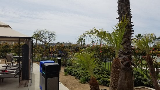 WorldMark Oceanside Harbor : Music in rocks by pool.  Train that runs next to building.