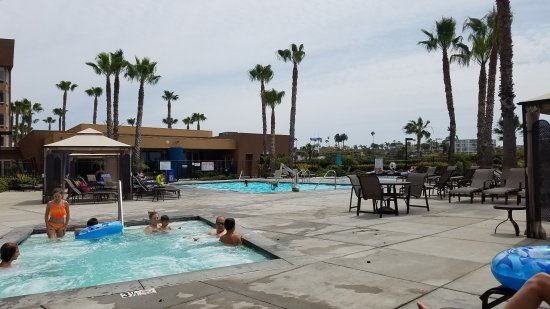 WorldMark Oceanside Harbor: Music in rocks by pool.  Train that runs next to building.