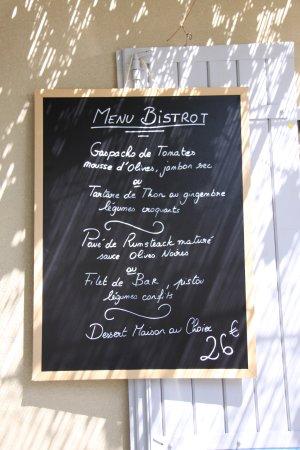Saint-Pantaleon, France: Exemple de Menu