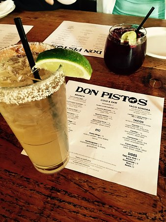 Don Pisto's : Bottomless Margaritas and Sangrias before 3pm. Delicious guacamole and fresh fried chips. Taco S