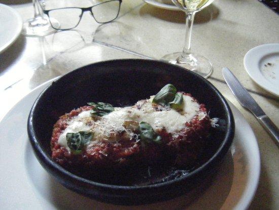 The Restaurant: Eggplant parmesan appetizer