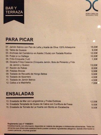 Carta Del Bar Picture Of Restaurante Don Carlos Huarte