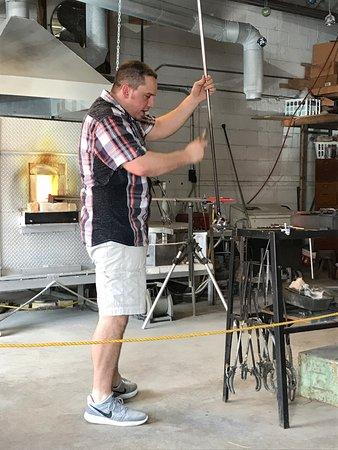 Appalachian Glass: Todd making a glass bulb
