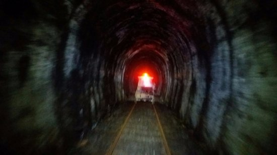 Taumarunui, New Zealand: going through one of the many tunnels