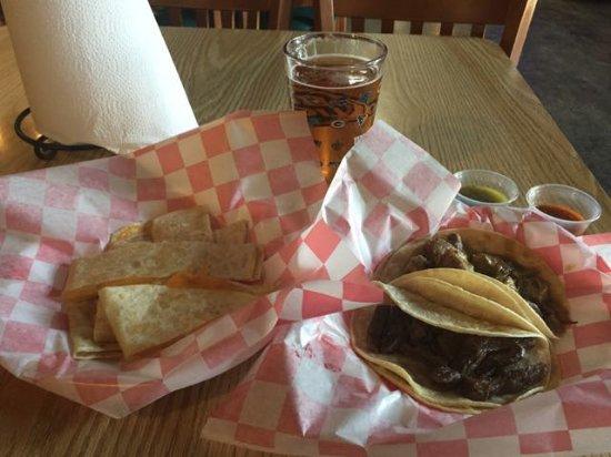 Rancho Nipomo Deli & BBQ: L-R: cheese quesadilla, beer, carne asada taco, chile verde taco, salsa x2