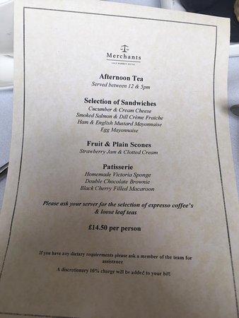 Merchants Restaurant: Afternoon Tea menu