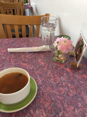Rice And Noodles Thai Gourmet: Casual Table Setting. Soup Included On  Weekday Special