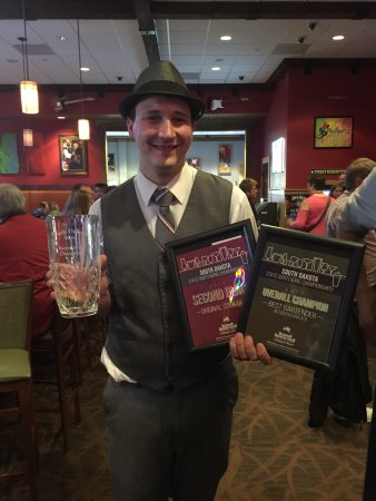 Watertown, SD: Adam Erickson winning the SD Bartender Championship
