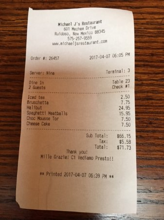 Michael J's Italian Restaurant: Total for dinner with deserts