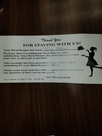Daytona Shores Inn and Suites: Solicitation for housekeeping tips - hahaha