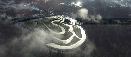 Lake Cowichan, Canada: Aerial shot of the Vancouver Island Motorsport Circuit