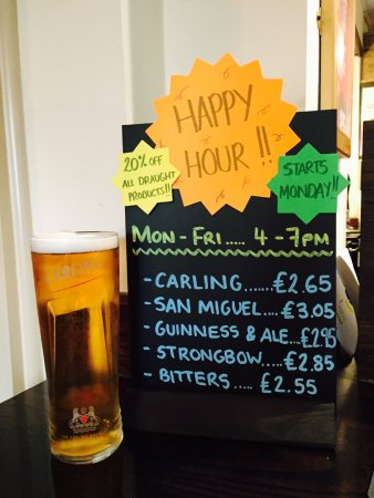 Studley, UK: OUR HAPPY HOUR!! 20% OFF ALL DRAUGHT PRODUCTS!!