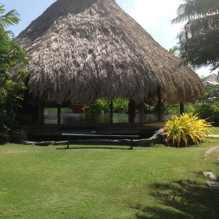 Kariwak Village Holistic Haven and Hotel: Yoga stand with the wind blowing through and a waterfall near by.