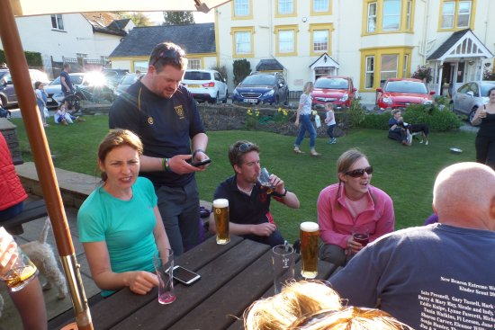 Braithwaite, UK: The New Beacon Extreme Walkers enjoying a well-earned drink/s