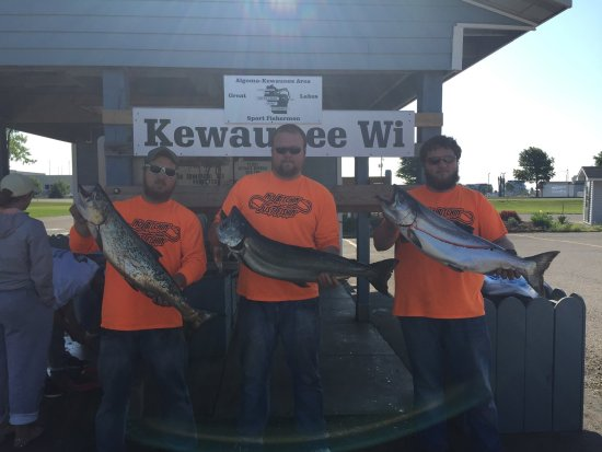 Kewaunee, WI: Captain Jayme Bertrand (center) wants everyone to experience the fishing trip of a lifetime.