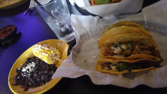 Ypsilanti, MI: Carnitas tacos and street corn / black beans