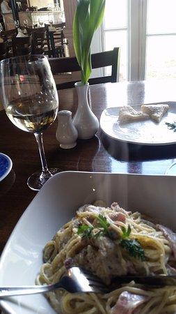 Spaghetti alla Carbonara and a bottle of crisp, chilled Sauvignon Blanc